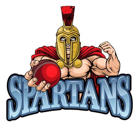 Spartan Trojan Cricket Sports Mascot Illusztráció