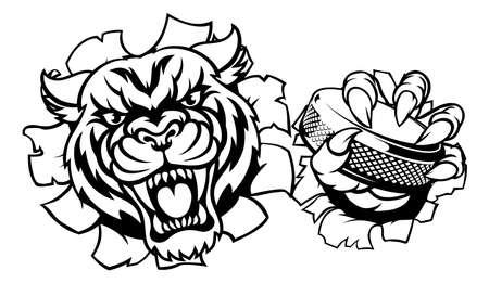 Tiger Ice Hockey Player Animal Sports Mascot Illusztráció