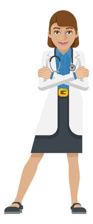 Young Woman Medical Doctor Cartoon Mascot Illusztráció