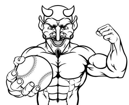 Devil Baseball Sports Mascot Holding Ball Illusztráció