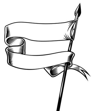 Banner Battle Flag Standard Scroll Ribbon On Spear