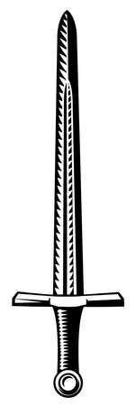 Sword Vintage Engraved Etching Woodcut Illusztráció