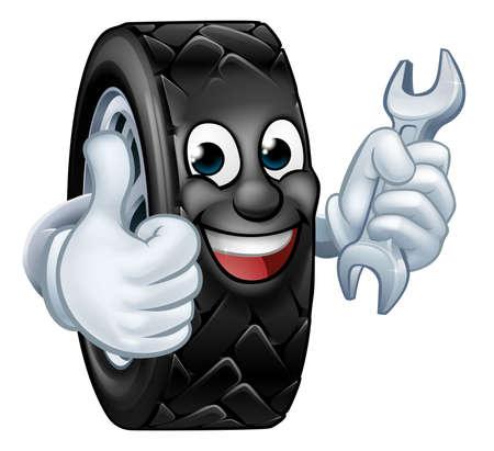 Tyre Cartoon Car Mechanic Service Mascot Illusztráció