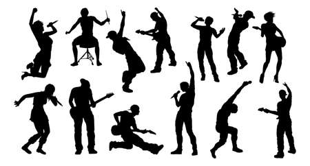 Silhouettes Rock or Pop Band Musicians