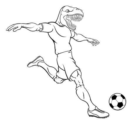Dinosaur Soccer Football Player Sports Mascot Vecteurs