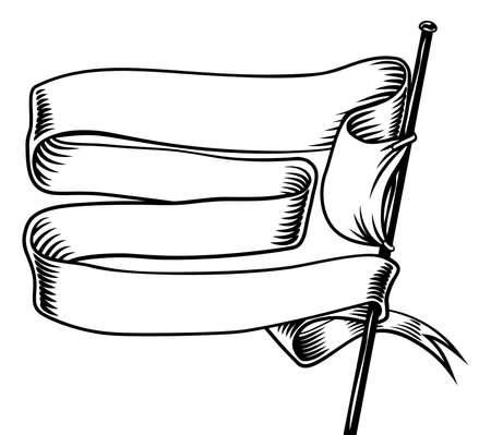 Banner Flag Scroll Ribbon Vintage Woodcut Etching