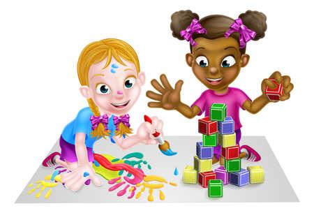 Girls Playing with Paints and Blocks Illusztráció