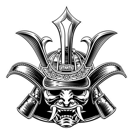 Samurai Mask Helmet Vintage Etching Woodcut Style Illusztráció