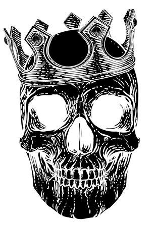 Skull Human Skeleton King wearing Royal Crown Illusztráció