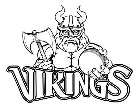 Viking Cricket Sports Mascot