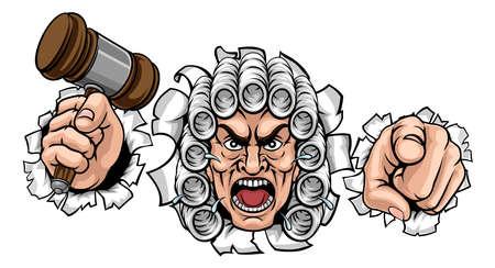 Angry Judge Cartoon Character Illusztráció