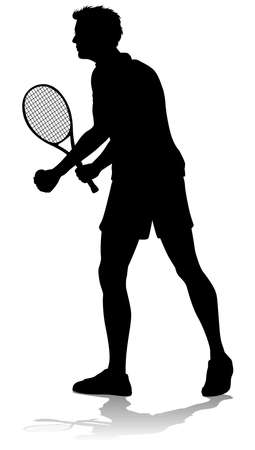 Tennis Silhouette Sport Player Man Vector Illustration