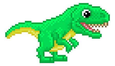 T Rex Pixel Art Dinosaur Video Game Cartoon