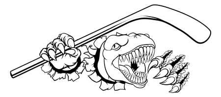 Dinosaur Ice Hockey Player Animal Sports Mascot