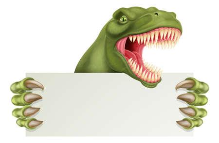 Dinosaur T Rex Holding Sign Cartoon