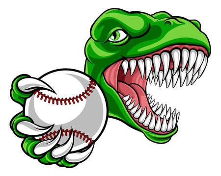 Dinosaur Baseball Player Animal Sports Mascot