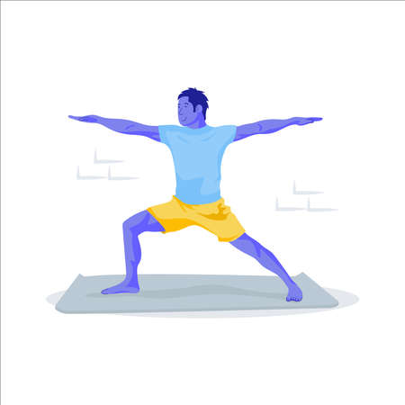 Young man with yoga pose on floor.