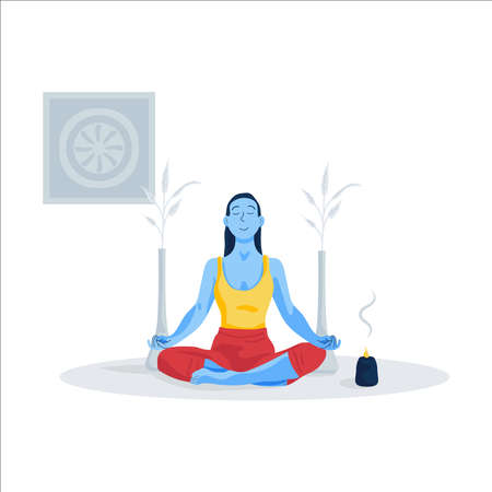 Young woman in yoga pose on floor. Illustration