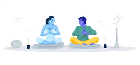 Young people in yoga pose on the floor. Illustration