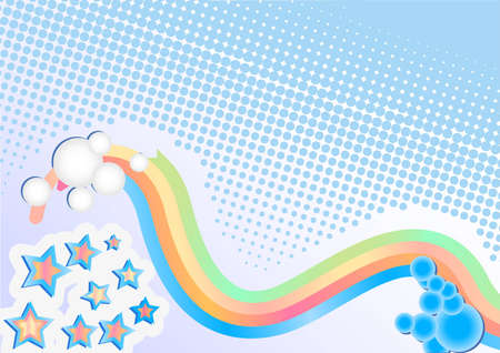 Abstract background with rainbow and stars