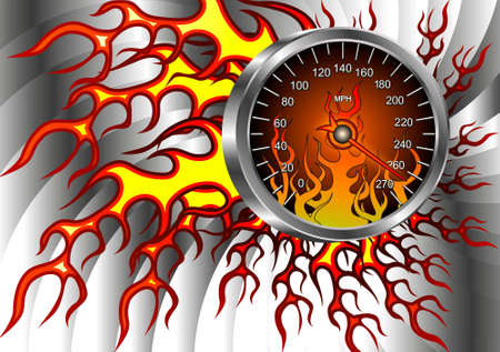 car display: Speedometer on fire for advertising shops, cars, racing, and more