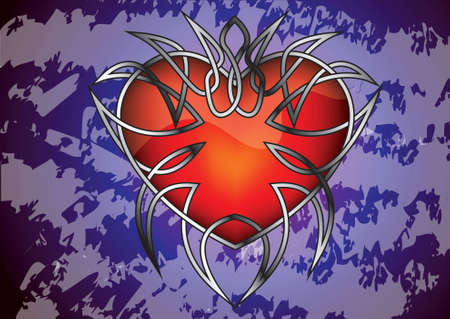 gothic heart: Gothic heart against the grungy background for illustration