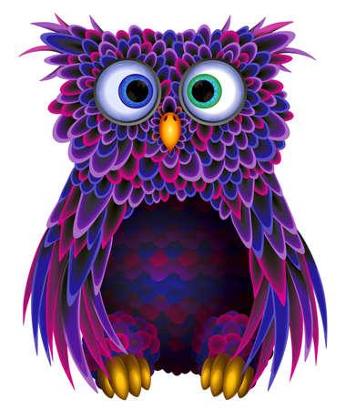 buhos: OWL sobre un fondo blanco para el diseño Foto de archivo