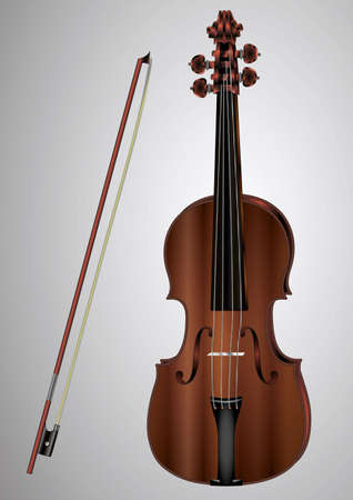 Violin and bow to advertise concerts of classical music, musical instrument stores, Internet sites on musical instruments, and more
