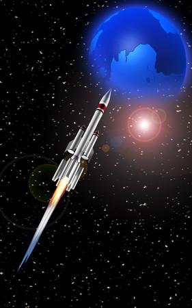 propulsion: rocket rotating earth