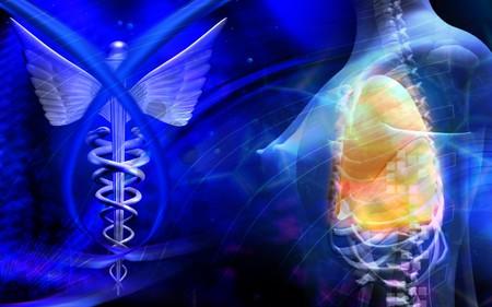 Digital illustration of a medical logo and human body Stock Illustration - 4585802