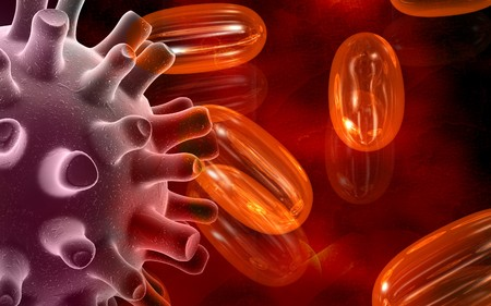 herpes simplex: Digital illustration of Herpes Simplex Virus and cod liver oil pills  Stock Photo