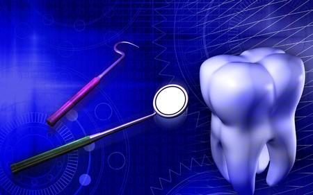 Digital illustration of teeth and  tools using by dentist illustration