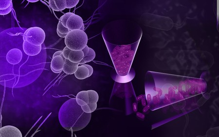 Tablets  in containers and staph bacteria Stock Photo - 4585844
