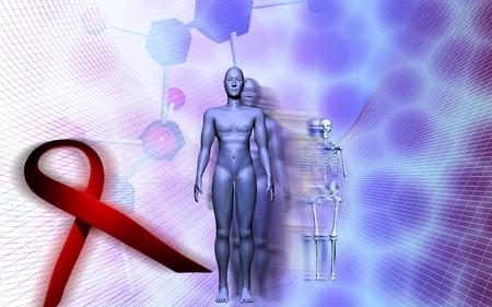 Digital illustration of a human male body and HIV ribbon Stock Illustration - 4585888