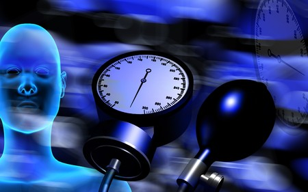 Digital illustration of sphygmomanometer and human body   illustration