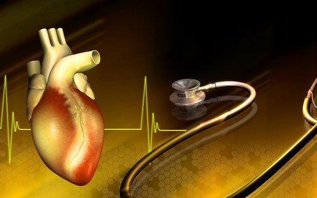 Digital illustration of a heart and stethoscope   illustration