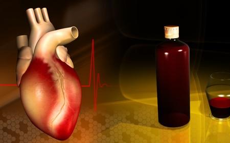Digital illustration of medicine bottle, measuring vase and heart  illustration