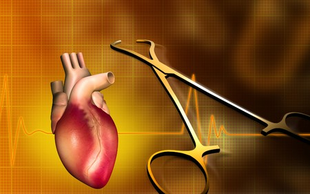gram: Digital illustration of a heart with eco cardio gram pulse and surgical scissor  Stock Photo