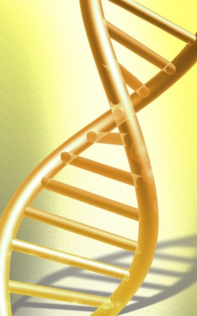 nucleic: DNA model in yellow colour  Stock Photo