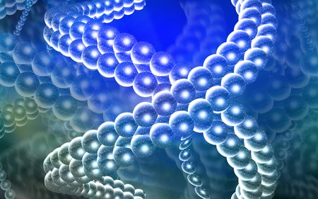 DNA model in blue colour   photo
