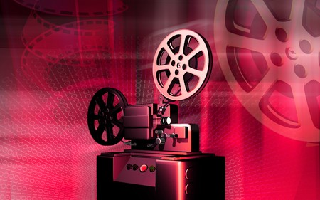 film history: vintage projector   Stock Photo
