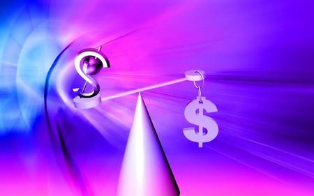 balanced: Dollar sign balanced  Stock Photo