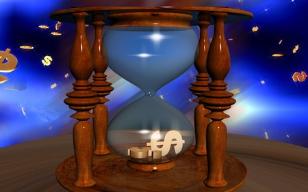 Dollar sign in hourglass photo