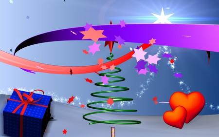 light emission: Christmas tree in spring shape   Stock Photo