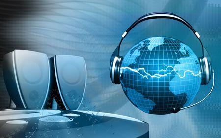 dvd rom: CD player, speaker and globe with headphone