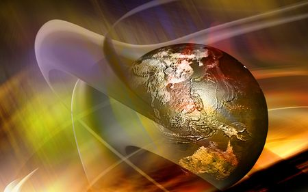 Earth with digital colours Stock Photo - 4603923