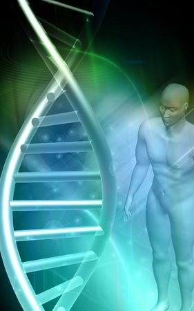 nucleic: DNA model and human body in green background