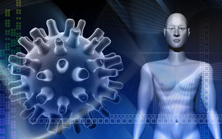 herpes simplex:  human body in blue background