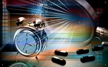 Capsules with alarm clock    photo