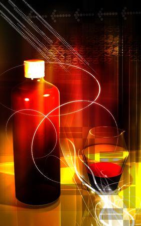 cough syrup: Medicine bottle and measuring vase